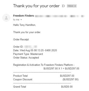 Freedom Finders Receipt